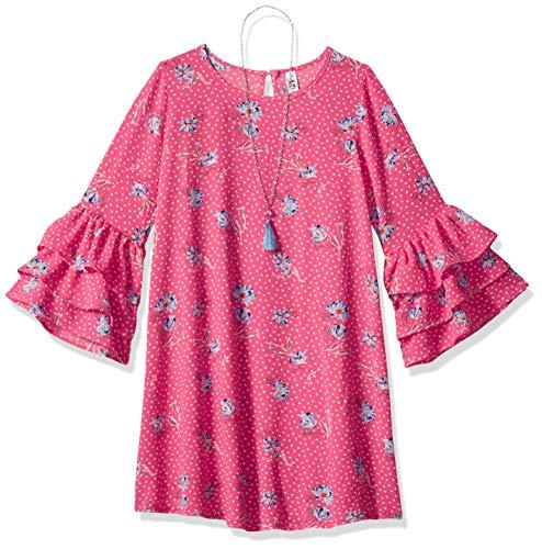 Beautees Girls' Big Swing Dress, Bright Coral, 10