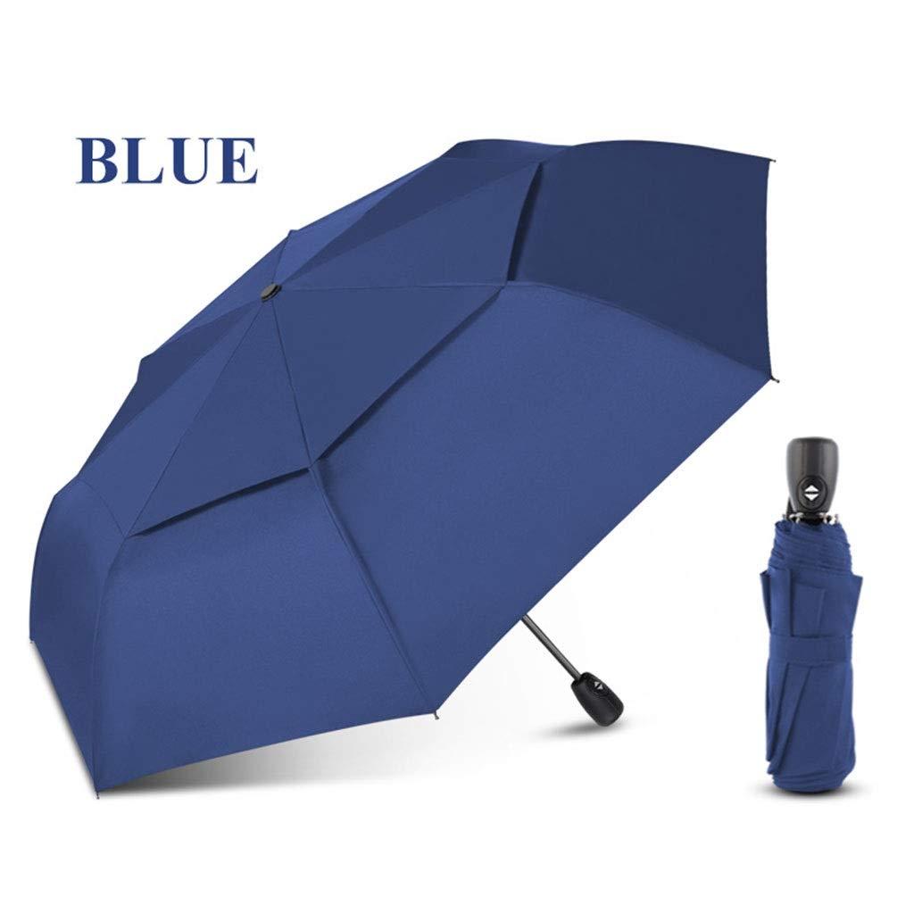 Color : Blue WMS Mens Large Weatherproof Umbrella Folding Ladies Automatic Umbrella Small Travel Umbrella
