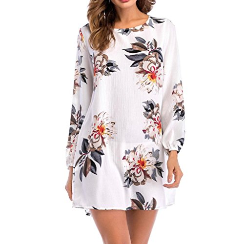 Womens Casual Long Sleeve Print Floral O-Neck Bow Mini Dress