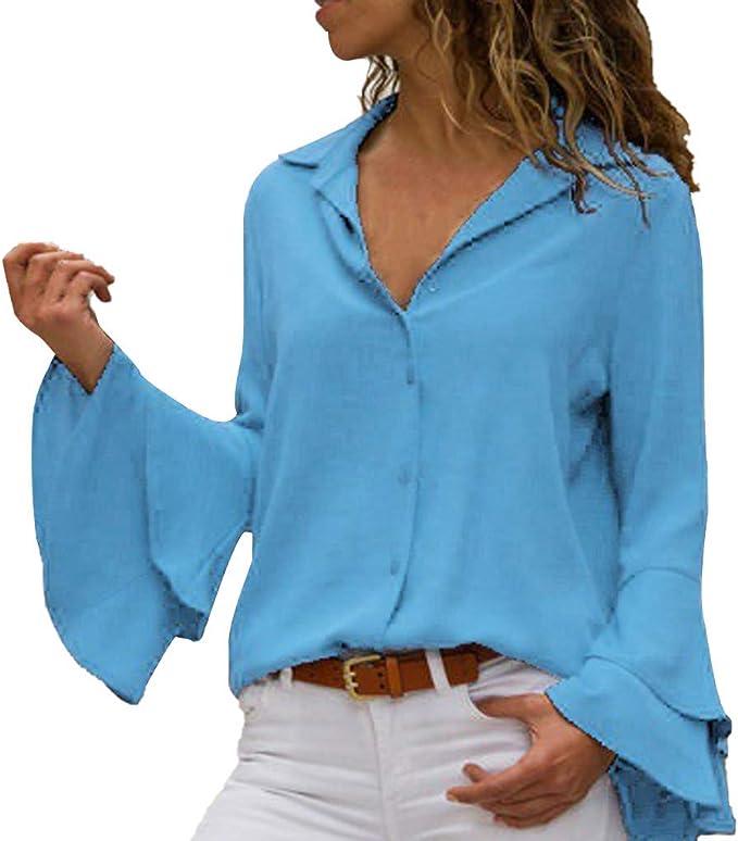Camisa Mujer, Blusas Color sólido Tops Cuello Redondo ...