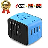 Universal Travel Adapter Type C 4 USB International Power Plug Converter Wall Charger for UK European EU AU US for 200 Countries (Blue)