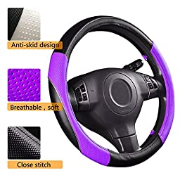 CAR PASS PVC Leather Rainbow Universal Fit Steering Wheel Cover - Purple