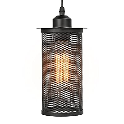 One-Light Industrial Pendant Lamp, Mixinie Industrial Edison Vintage Style E27 Socket Pendant Light for Kitchen Living Dinning Room Restaurant Bar and More