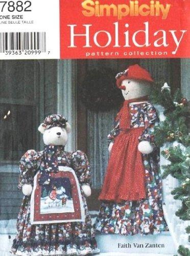 SIMPLICITY 7882 Christmas Snow Lady and Polar Bear (TEDDY BEAR & SNOWMAN SEWING ()