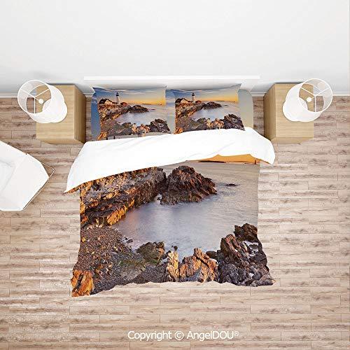 Portland Cotton Sheet Set - PUTIEN Durable Cotton Bedding Set (1 Duvet Covers+2 Pillowcases 1 Sheet),Cape Elizabeth Maine River Portland Lighthouse Sunrise USA Coast Scenery,Soft Microfiber Duvet Cover Set.