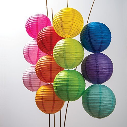 Luna Bazaar Paper Lanterns (10-Inch, Parallel Style Ribbed, Multicolor, Set of 12) - Rice Paper Chinese/Japanese Hanging