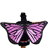 Ikevan Hot Selling Newset Women Girl Soft Fabric Butterfly Wings Shawl Scarf Fairy Ladies Nymph Pixie Costume Accessory 145x65cm (Purple)