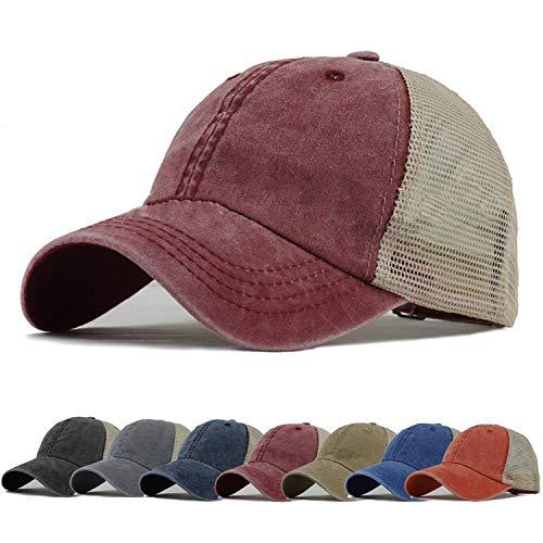 (HH HOFNEN Trucker Hat Adjustable Vintage Mesh Baseball Cap for Men Women)
