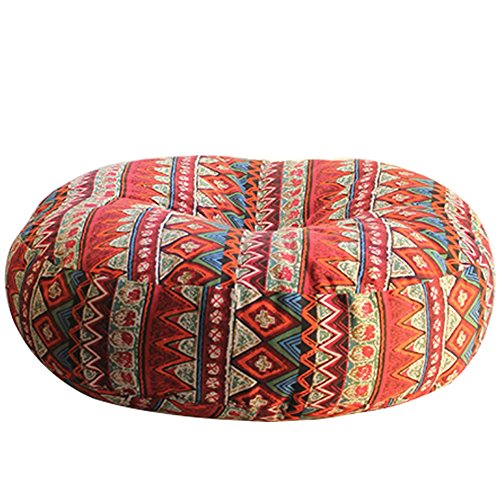 AB Crew Japanese Style Zafu Meditation Yoga Bolster Tatami Floor Round Cushion(Red,19.7