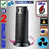 """ProElec Efficient Electric 2Kw 19"""" Tower PTC Ceramic Oscillating Instant Heater/Cool Fan with Heat Thermostat"""