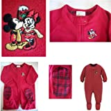 DISNEY MICKEY MOUSE AND MINNIE MOUSE SLEEPER BLANKET SLEEPER FOR CHRISTMAS HOLIDAYS NON SKID FEET FLEECE EMBROIDERED INFANT BABY GIRLS BOYS