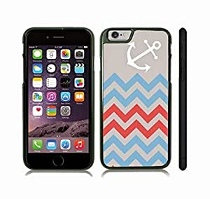 iStar Cases? iPhone 6 Plus Case with Chevron Pattern Blue/ Red/ Grey Stripe White Anchor , Snap-on Cover, Hard Carrying Case (Black)