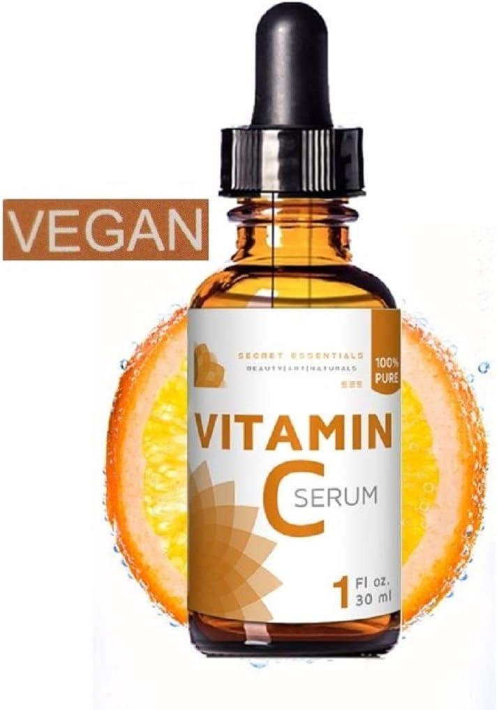 Suero de  vitamina C puro y 100 % natural de Secret Essentials, producto végano  con ácido hialurónico (30 ml) | ingredientes activos orgánicos, aloe  vera orgánica, MSM, aceite de jojoba y vitamina E