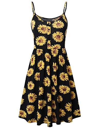(SUNGLORY Flared Dress, Women's Cami Floral Printed Spaghetti Strap Sundress)