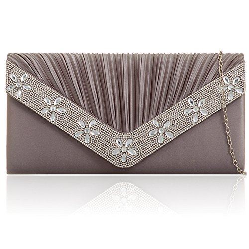 Prom Clutch Bridal Satin Diamante Ladies Bag Zarla Uk Evening New Grey Party Women Envelope SHqvSgYw
