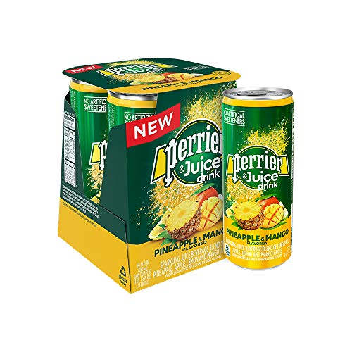 Perrier & Juice, Pineapple and Mango Flavored, 8.45 Fl Oz. Cans (Pack of 4)