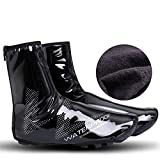 Aoile Waterproof Shoe Covers Bicycle Warm Overshoes Riding Equipment for Mountain Road Bike Bright - Black XXL