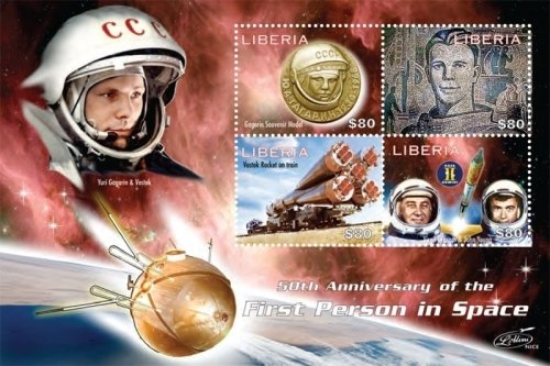 (Space - 50th Anniversary of The First Person in Space - Collectors Stamp - Liberia)