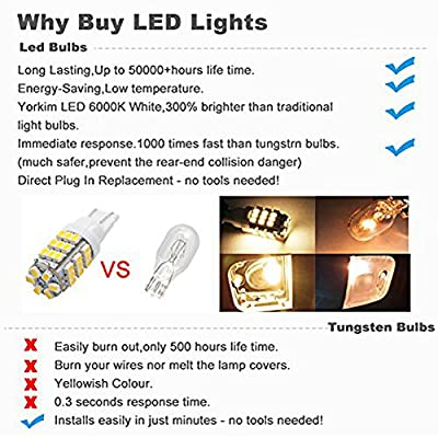 PESIC 20x T10 921 192 194 Wedge RV Trailer 42-SMD LED Super Bright 3500K Warm White Car Backup Reverse Interior Light Bulbs: Automotive