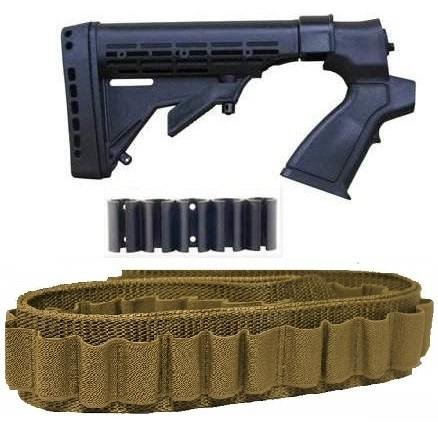 [Ultimate Arms Gear New Generation Mossberg 500 / 535 / 590 / 835 12 & 20 GA Gauge Shotgun Furniture + Coyote Tan 56 Round Bando] (20 Gauge Furniture)