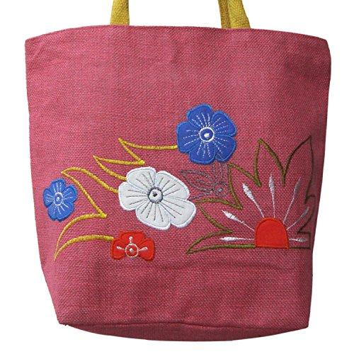 Blumen Bestickt Jute College Tasche mit Baumwollschnur Handgriff