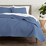 Bare Home Premium 3 Piece Coverlet Set - King Size - Diamond Stitched - Ultra-Soft Luxurious Lightweight All Season Bedspread (King, Coronet Blue)