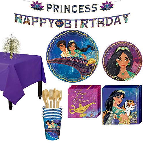 Party City Aladdin Tableware Party Supplies for 8 Guests, 83 Pieces, Includes Tableware and Decorations