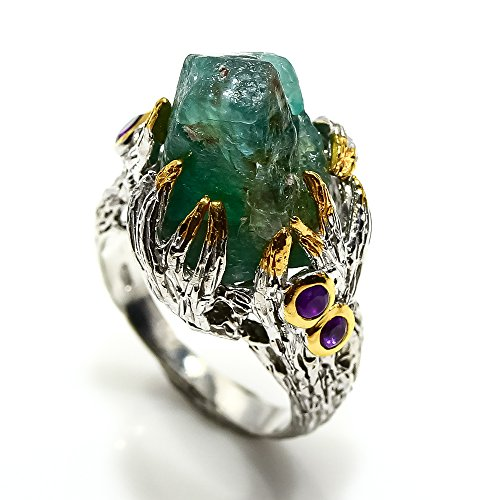 - Handmade fine art Jewelry Natural Apatite size 7 us. sterling silver 925