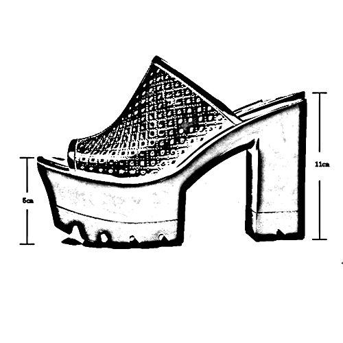 Tamaño Altura Negro Exterior Zapato Tacón Talón Colores De 5 2 11cm Grueso 235 Hembra zapatos Zapatillas uk4 Ropa Verano Aumentar Del Alto Lixiong Eu37 Moda cn37 Blanco color vq17pxP