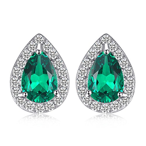 (JewelryPalace Fashion 0.85ct Nano Simulated Russian Emerald Stud Earrings 925 Sterling Silver)