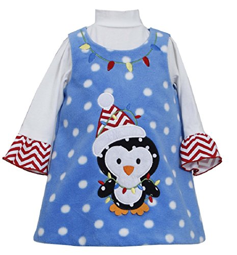 Bonnie Jean Baby-Girls Infant Penguin Dotted Fleece Jumper Dress, Turquoise, 2T ()
