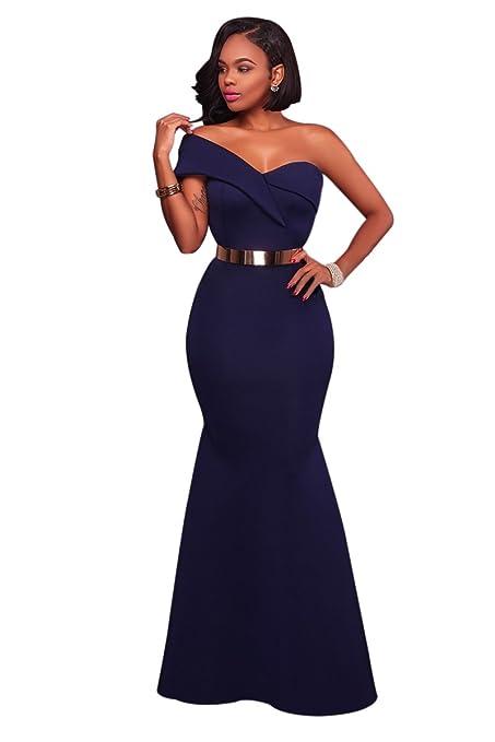 Nuevo Azul Marino Azul ONE Shoulder vestido largo noche Prom Cóctel Fiesta Vestido de sirena tamaño