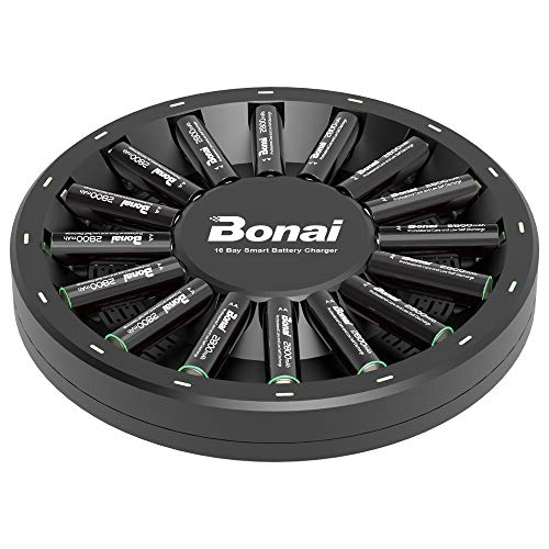 BONAI 16 Bay Smart Battery Charger Round with 16 Pack AA High-Capacity 2800mAh Ni-MH Rechargeable Batteries