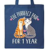 Inktastic - 1st Anniversary Gift Cat Couples Tote Bag Royal Blue