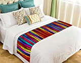 NNBZ Custom Classic Retro Colorful Wood Stripes Bed Runner Cotton Bedding Scarf Bedding Decor 20x95 inches