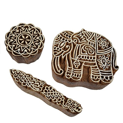 Hand Carved Indian Elephant Block Print Set of 3