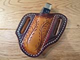 Cheap HandMade Leather Sheath for CASE TRAPPER or STOCKMAN or similar size. Brown & Saddle tan dyed leather WHEAT