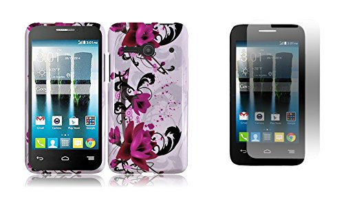 Magenta Protector Case Shield (Alcatel OneTouch Evolve 2 4037T (T-Mobile) - Magenta Rose Pink Lotus Flower on White Design Shield Snap-On Cover Case + ATOM LED Keychain Light + Screen Protector Guard)