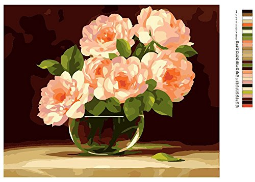 """[WOODEN FRAMED] ALB 12"""" x 16"""" Paint by Numbers Diy Painting Famous Painting Collection (Peony Blossom)"""