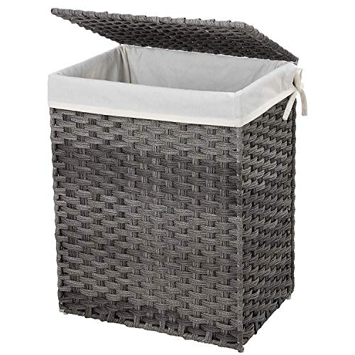 SONGMICS Handwoven Laundry Basket, 90L Synthetic Rattan Wicker Clothes Hamper with Lid and Handles, Foldable, Removable Liner Bag, Stable Iron Frame, Gray ULCB51WG (Rattan Grey Basket Laundry)