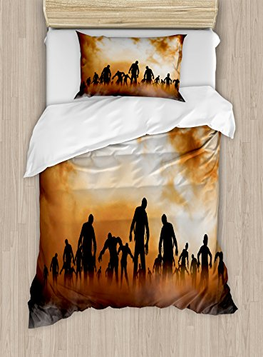 Halloween Decorations Duvet Cover Set by Ambesonne, Zombies Dead Men Body in the Doom Mist at Night Sky Haunted Decor, 2 Piece Bedding Set with Pillow Sham, Twin / Twin (Twin Lakes Halloween Night)