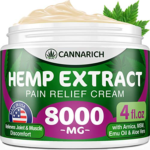 Pain Relief Hemp Cream - 8000MG Hemp Extract - Natural Formula with MSM, Aloe Vera, Emu Oil & Menthol - Made in USA - Perfect for Joint, Muscle, Sciatica & Back Pain - Rich in Omega 3-6-9