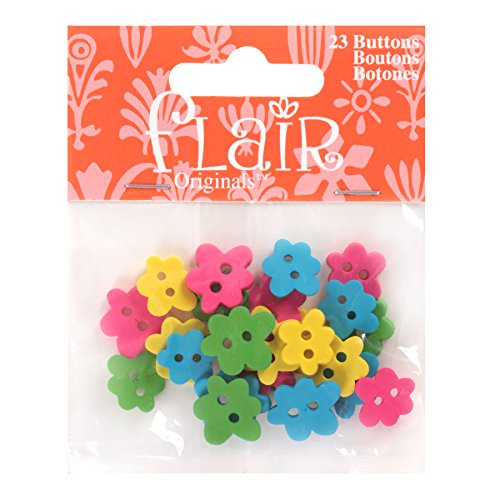 Blumenthal Lansing Favorite Findings Buttons, Flower Shaped, Various Shapes, Sizes, Perfect for Spring or Floral Projects - Matte Hot Pink, Yellow, Bright Green, Turquoise