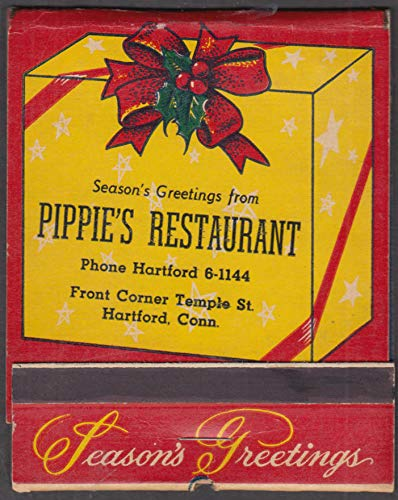 Pippie's Restaurant Hartford CT Season's Greeting feature matchbook Santa 1950s