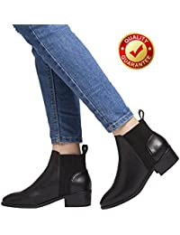 Short Ankle Boots For Women, Winter Spring Low Chunky Block Stacked Heels Round Toe Waist Elastic Slip On Boots For Lady Big Girls Black Brown