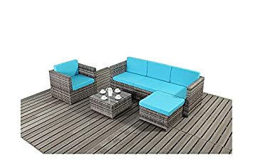 UniqueChic Furniture PREMIER SALON DE JARDIN EN ROTIN GRIS BLEU ...