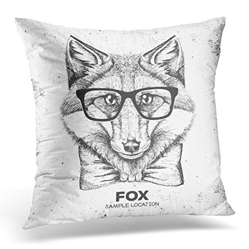 UPOOS Throw Pillow Cover Artistic Hipster Animal Fox Muzzle of Glasses Decorative Pillow Case Home Decor Square 20x20 Inches Pillowcase