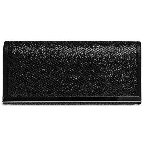 CASPAR TA395 Ladies Glitter Clutch / Elegant Evening Bag with Metal Clip and Snakeskin Effect Black