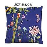 Artsbaba Pillowcases Bamboo Flower Butterfly Zipped Pillowcase Decorative Throw Pillow Cover 20''x20''