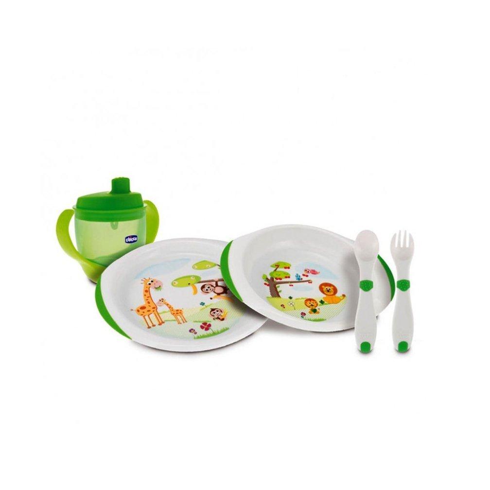 Chicco - Set de vajilla y cubertería infantil (platos, cubiretos y vaso),